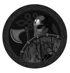 warrior barbarian viking berserker with axe and vector image