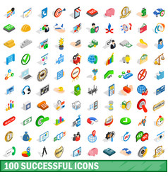 100 successful icons set isometric 3d style vector image