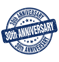 30th anniversary blue grunge stamp vector
