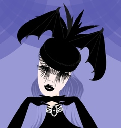abstract lady with gothic hat vector image