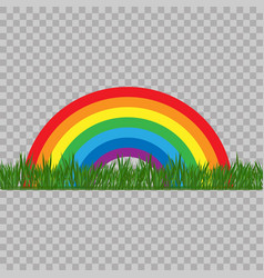 abstract rainbow colored with grass on transparent vector image