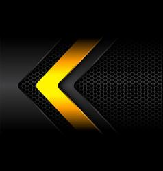 Abstract yellow grey arrow shadow hexagon mesh vector