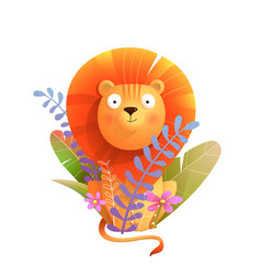 African baby lion in nature for kids and children vector