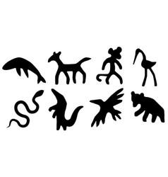 Animals primitive stencil set vector