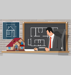 architect create building project in office vector image