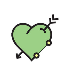 Arrow on heart icon green vector