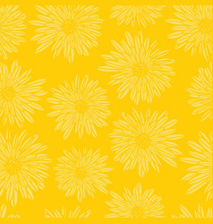 aster dahlia flowers yellow seamless vector image