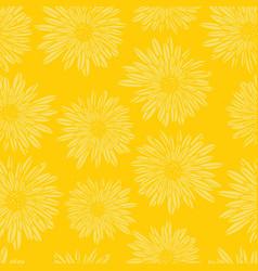 Aster dahlia flowers yellow seamless vector