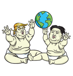 baby trump and kim jong un cartoon vector image