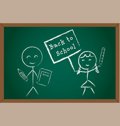 back to school boy girl on green chalk board vector image