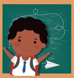 Back to school card with afro student boy vector