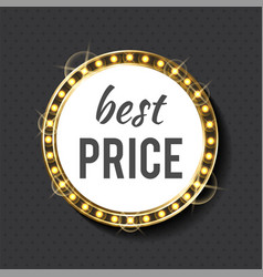 best price circle frame with bulbs and gold light vector image