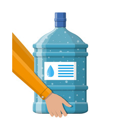 big bottle with clean water for cooler in hand vector image