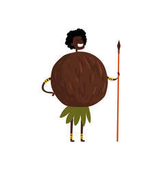 Brave coconut cartoon character with spear man in vector