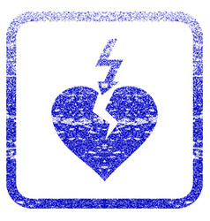 Break heart framed textured icon vector