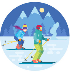 cartoon skiers in the mountains vector image