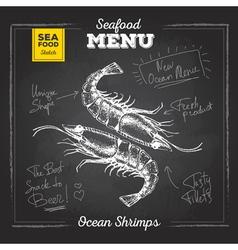 Chalk drawing sketch set of seafood Shrimps vector