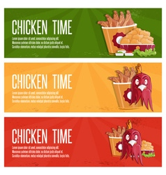 Chicken time fast food banners vector