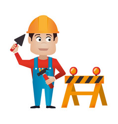 color silhouette with worker with helmet and vector image