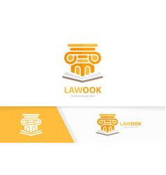Column and open book logo combination vector