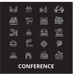 conference editable line icons set on black vector image