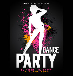 Dacing women party happy hour ladies night flyer vector