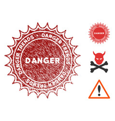 danger trends stamp with grunge style vector image