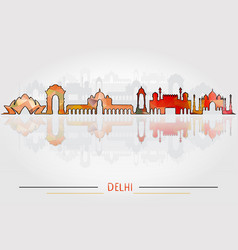 delhi city silhouette with city silhouette design vector image