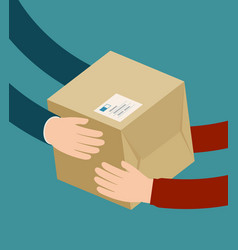 delivery man gives parcel supply shipment vector image