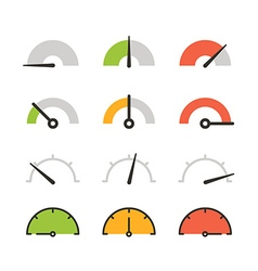 Different slyles of speedometers collection Flat vector image