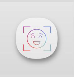 Facial recognition app icon vector