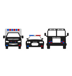 Fire car ambulance and police car vector