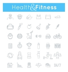 Fitness gym and healthy lifestyle flat thin line vector image
