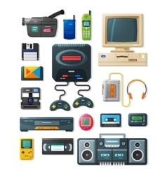 Flat retro gadgets 90s vector