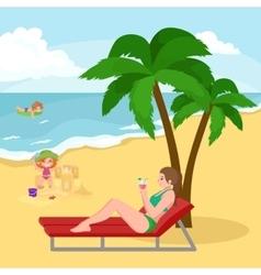 Fun at beach Happy kids plaing sand around water vector image