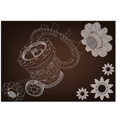 gear mechanism on brown vector image
