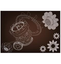 gear mechanism on brown vector image