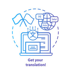 Get your translation blue concept icon online vector