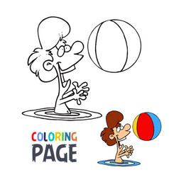 girl playing ball in water cartoon coloring page vector image