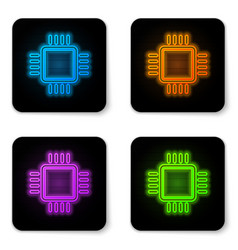 glowing neon computer processor with vector image