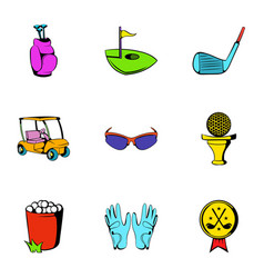 golf car icons set cartoon style vector image vector image