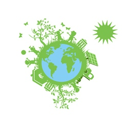 green eco globe vector image