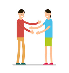 greeting people girls standing and greeting each vector image
