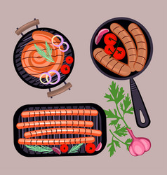 grilled sausages in frying pan vector image