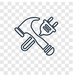 hammer concept linear icon isolated on vector image