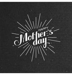 Happy Mothers Day retro label with light rays vector