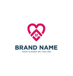 Home logo combination with heart template vector