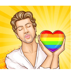 Homosexual man with rainbow heart cartoon vector