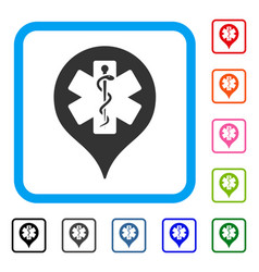Hospital map marker framed icon vector