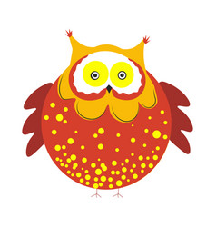Huge round owl with brown plumage with tassels on vector